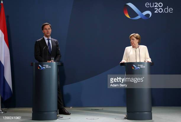 Dutch Prime Minister Mark Rutte and German Chancellor Angela Merkel attend a news conference at the German federal Chancellery on July 09 2020 in...