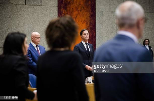 Dutch Prime Minister Mark Rutte and Justice and Security minister Ferdinand Grapperhaus hold a moment of silence for the victims of the attacks in...