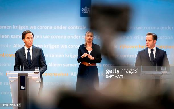 Dutch Prime Minister Mark Rutte and Ministerof Health, Welfare and Sport Hugo de Jonge give a press conference in The Hague, on January 12 for an...