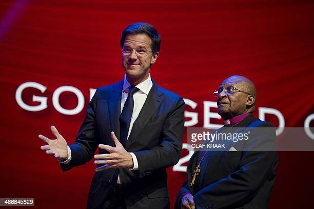 Dutch Prime Minister Mark Rutte and South African archbishop Desmond Tutu attend the Goed Geld Gala organised by a Dutch charity lottery in the...