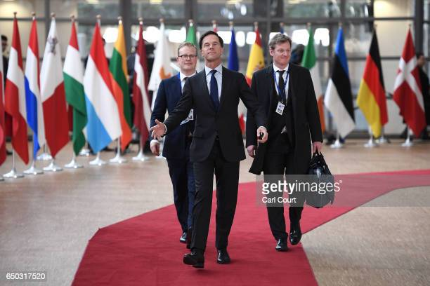 Dutch Prime Minister Mark Rutte arrives at the Council of the European Union on the first day of an EU summit on March 9 2017 in Brussels Belgium EU...