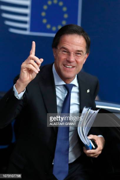 Dutch Prime Minister Mark Rutte arrives on December 14 2018 in Brussels during the second day of a European Summit aimed at discussing the Brexit...