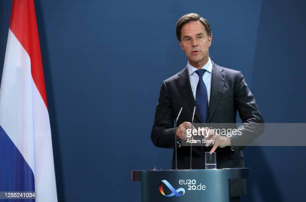 Dutch Prime Minister Mark Rutte attends a news conference with German Chancellor Angela Merkel at the German federal Chancellery on July 09, 2020 in...