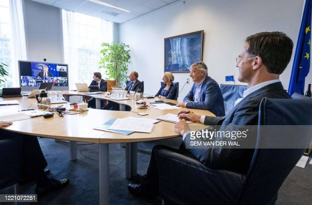 Dutch Prime Minister Mark Rutte attends an European summit in video, in The Hague, the Netherlands, on June 19, 2020. / Netherlands OUT