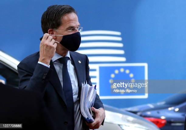 Dutch Prime Minister Mark Rutte attends European Union Leaders Summit in Brussels Belgium on July 20 2020 The leaders of the 27 EU member states...