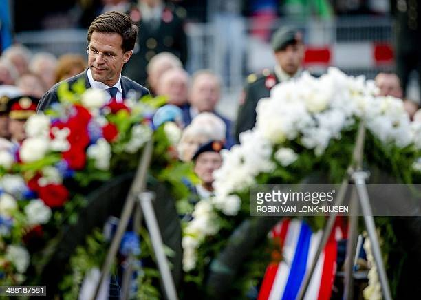 Dutch Prime Minister Mark Rutte attends the National Remembrance ceremony at the National Monument on Dam Square in Amsterdam on May 4, 2014. The...