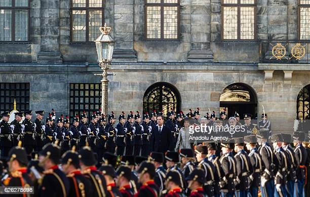Dutch Prime Minister Mark Rutte Belgiums King Philippe , Queen Mathilde and Major of Amsterdam Eberhard van der Laan at The Royal Palace of Amsterdam...