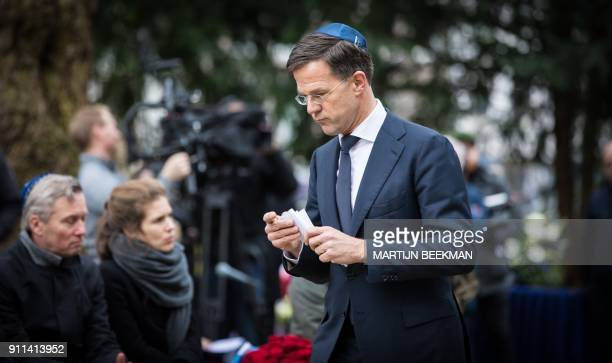 Dutch Prime Minister Mark Rutte delivers a speech at the Auschwitz monument in the Wertheimpark in Amsterdam on January 2018 The event took place...