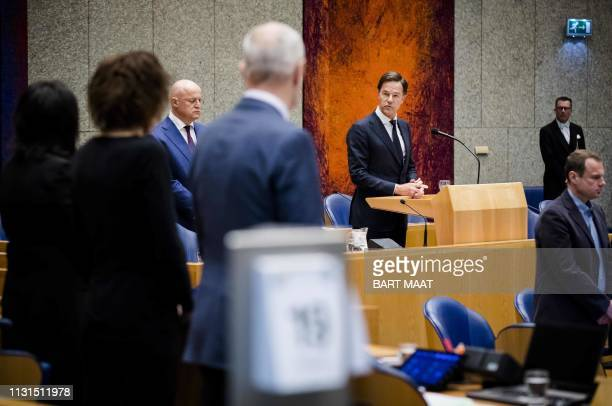 Dutch Prime Minister Mark Rutte delivers a speech nexy to Justice and Security minister Ferdinand Grapperhaus during a commemoration for the victims...