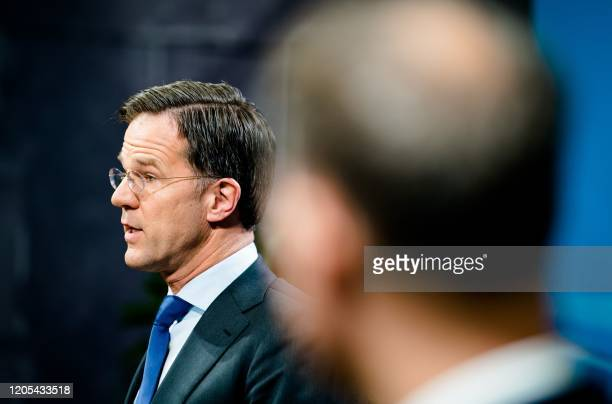 Dutch Prime Minister Mark Rutte delivers his weekly press conference following the the Council of Ministers in the Hague, on March 6, 2020. /...