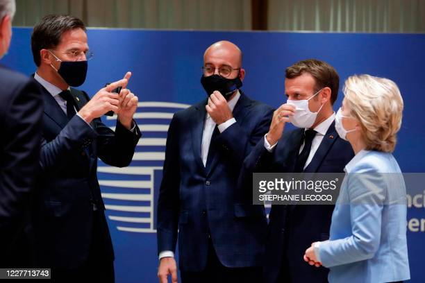 Dutch Prime Minister Mark Rutte European Council President Charles Michel French President Emmanuel Macron and President of the European Commission...