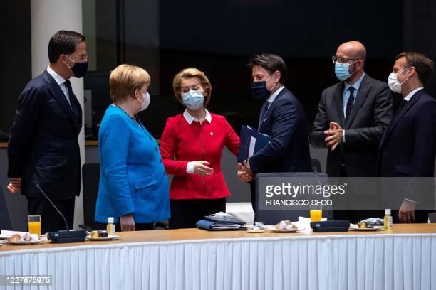 Dutch Prime Minister Mark Rutte German Chancellor Angela Merkel European Commission President Ursula von der Leyen Italy's Prime Minister Giuseppe...