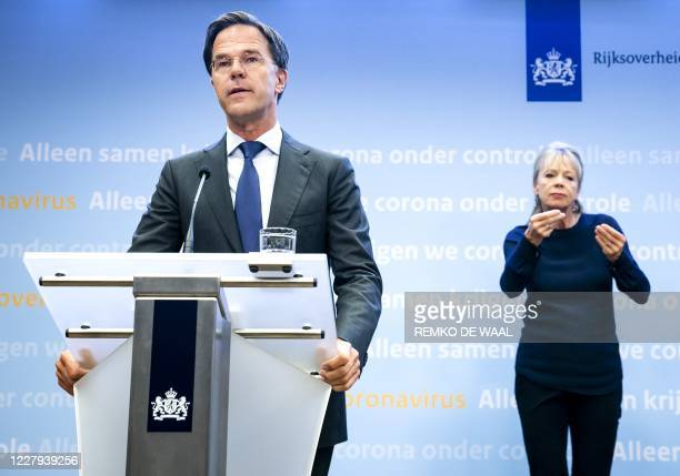 Dutch Prime Minister Mark Rutte gives a press conference about the current state of affairs regarding the covid-19 pandemic in The Hague, on August...