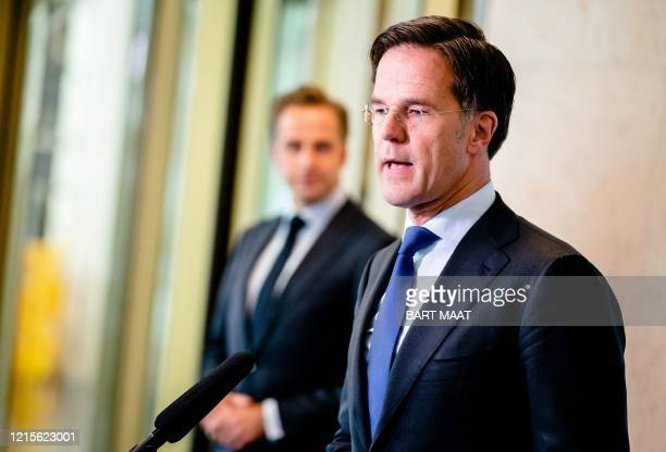 Dutch Prime Minister Mark Rutte gives a press interview in The Hague on May 27 amid the COVID-19 pandemic. - The Dutch government is asking people to...