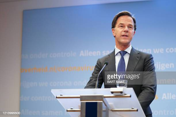 Dutch Prime Minister Mark Rutte holds a press conference in The Hague, Netherlands, on May 19 after a consultation with the Ministerial Crisis...