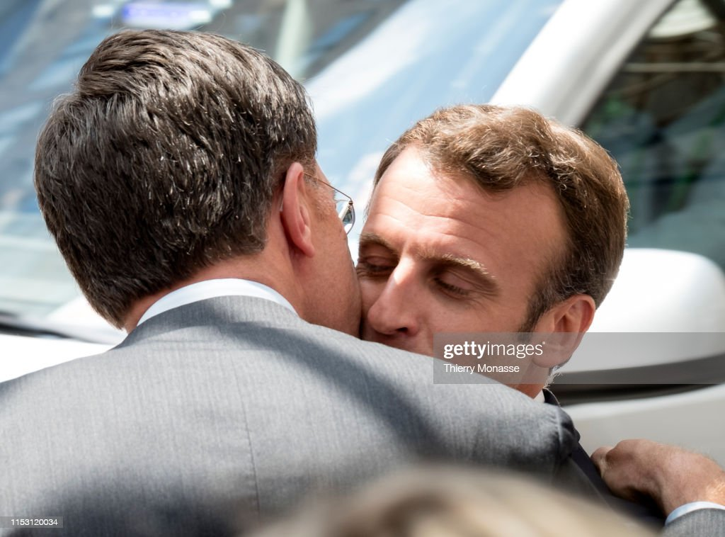 Dutch Prime Minister Mark Rutte kisses the French President ...