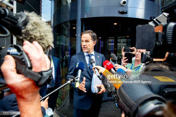 Dutch Prime Minister Mark Rutte leaves his hotel for the EU Summit on July 20 2020 in Brussels Belgium
