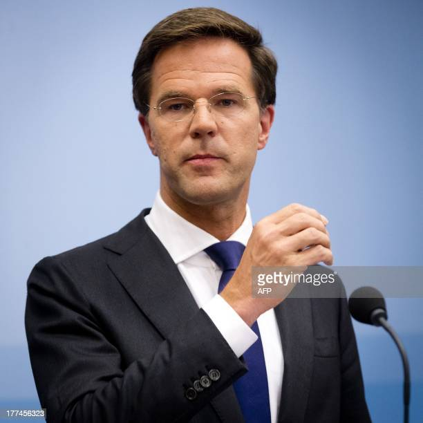Dutch Prime Minister Mark Rutte looks on during a press conference about the ABN AMRO bank in The Hague on August 23 2013 The Dutch government on...