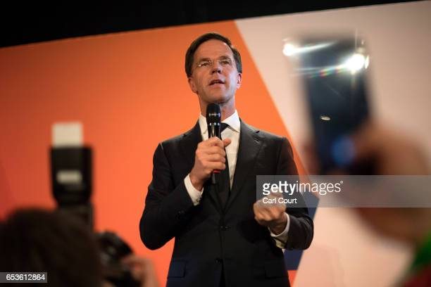 Dutch Prime Minister Mark Rutte makes a speech following his victory in the Dutch general election on March 15, 2017 in The Hague, Netherlands. Dutch...