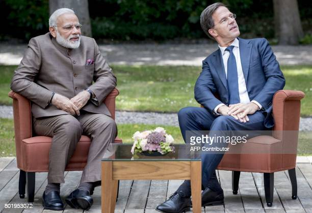 Dutch Prime Minister Mark Rutte meets with Indian Prime Minister Narendra Modi on June 27 2017at the Catshuis in The Hague in The Netherlands / AFP...