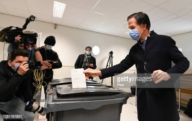 Dutch Prime Minister Mark Rutte of the VVD Liberal party casts his vote during the 2021 Dutch General Election at a polling station on March 17, 2021...