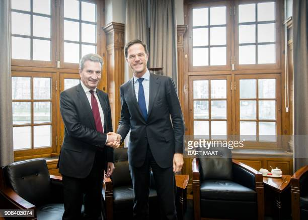 Dutch Prime Minister Mark Rutte receives EU Commissioner for Budget and Human Resources Guenther Oettinger for a meeting at the Binnenhof in The...
