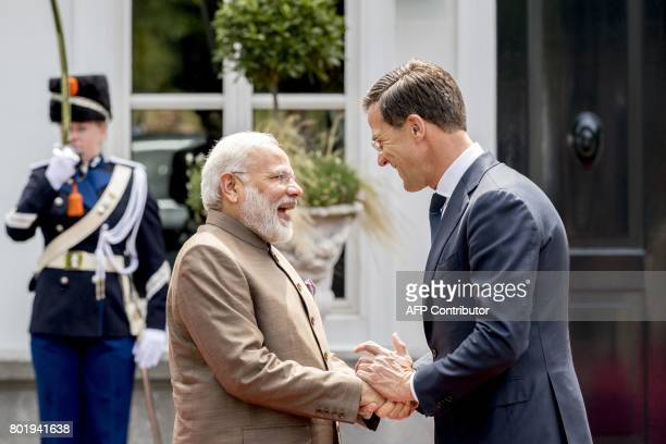 Dutch Prime Minister Mark Rutte shakes hands with Indian Prime Minister Narendra Modi during a meeting on June 27 2017at the Catshuis in The Hague in...