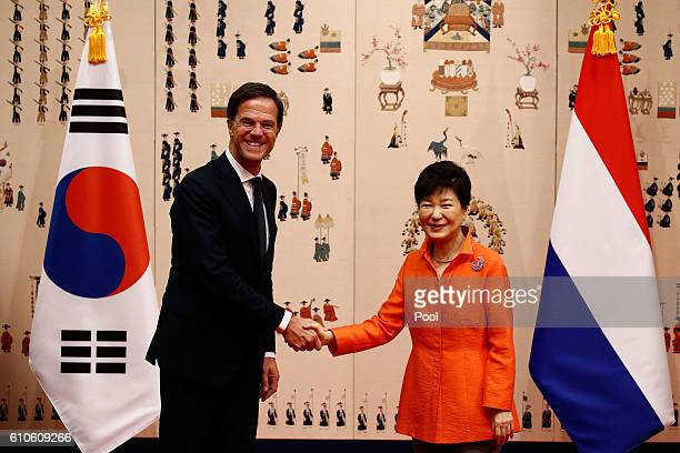 Dutch Prime Minister Mark Rutte shakes hands with South Korea's President Park GeunHye prior their meeting at the Presidential blue house on...