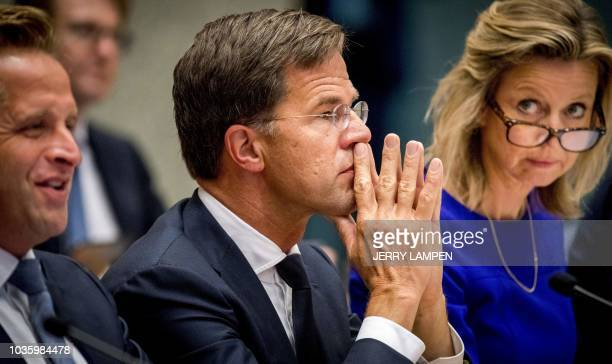 Dutch Prime Minister Mark Rutte speaks at the House of Representatives in The Hague, on September 19, 2018 during the General Political...