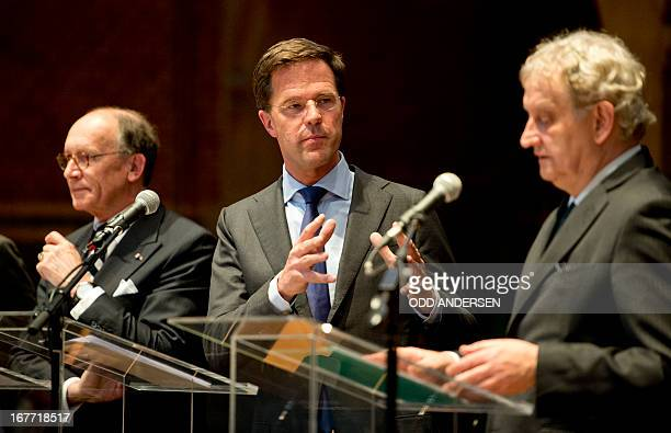 Dutch Prime minister Mark Rutte speaks during a joint press conference on the upcoming Royal investiture, with Mayor of Amsterdam Eberhard van der...