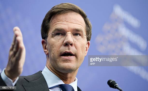Dutch Prime Minister Mark Rutte speaks during a joint press conference with the Dutch foreign minister and The Hague mayor in The Hague on March 23,...