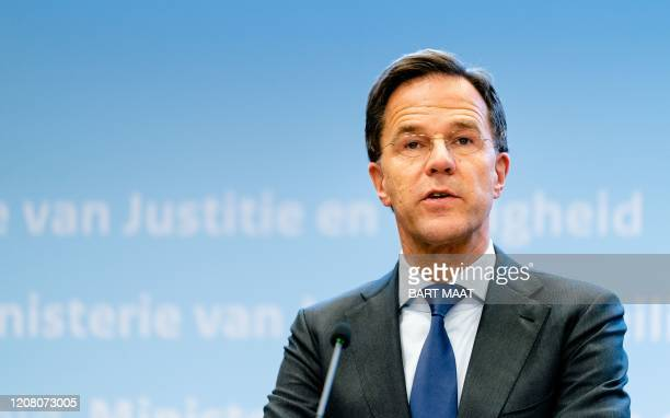 Dutch Prime Minister Mark Rutte speaks during a press conference at the Ministry of Security and Justice in the Hague, the Netherlands, on March 23...