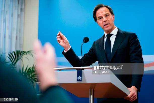 Dutch Prime Minister Mark Rutte speaks during a press conference in The Hague on January 15 after the resignation of his cabinet due to the childcare...