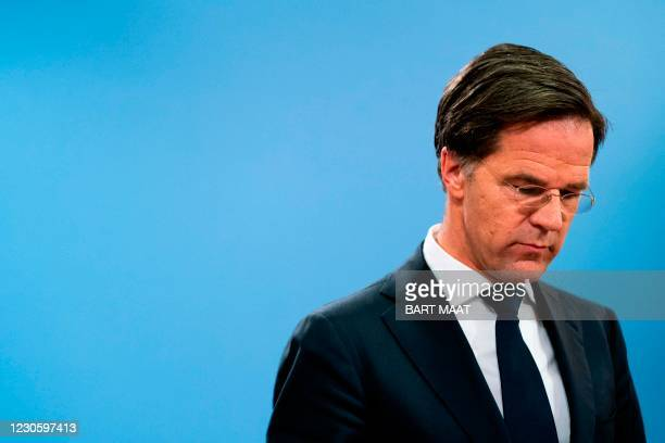 Dutch Prime Minister Mark Rutte speaks during a press conference in The Hague on January 15 after the resignation of the cabinet due to the childcare...