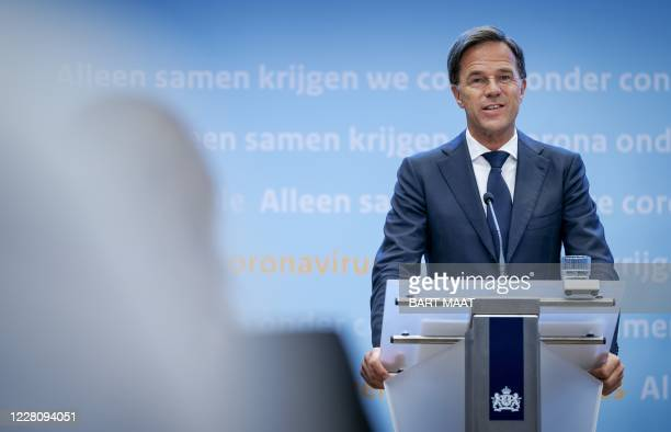 Dutch Prime Minister Mark Rutte speaks during a press conference on the current state of affairs regarding the COVID-19 pandemic in the Netherlands,...