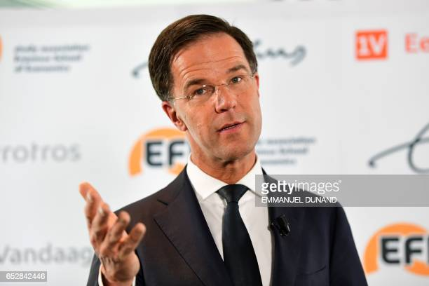 Dutch Prime Minister Mark Rutte speaks during a press conference on March 13, 2017 at Erasmus University in Rotterdam. Dutch Prime Minister Mark...