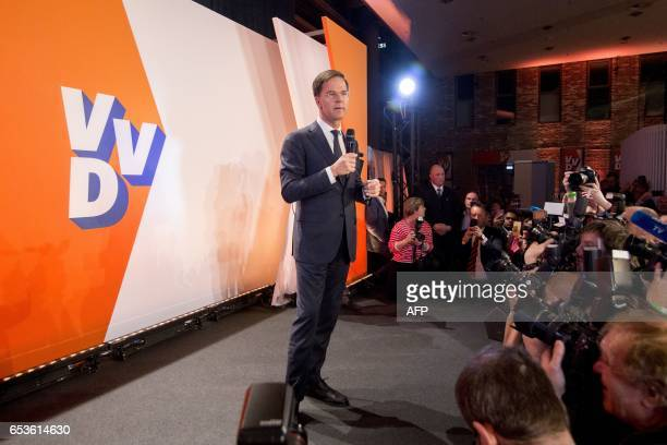 Dutch Prime Minister Mark Rutte speaks during election night in The Hague on March 15 2017 The Liberal party of Dutch Prime Minister Mark Rutte was...