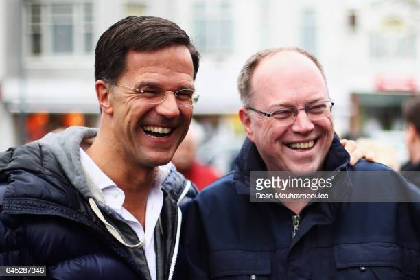 Dutch Prime Minister Mark Rutte speaks to the media supporters and the public near Marktplein on February 25 2017 in Wormerveer Netherlands Mark...