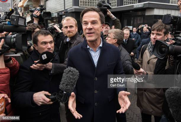 Dutch Prime Minister Mark Rutte speaks to the public and the media as he campaigns ahead of tomorrow's general election, on March 14, 2017 in The...
