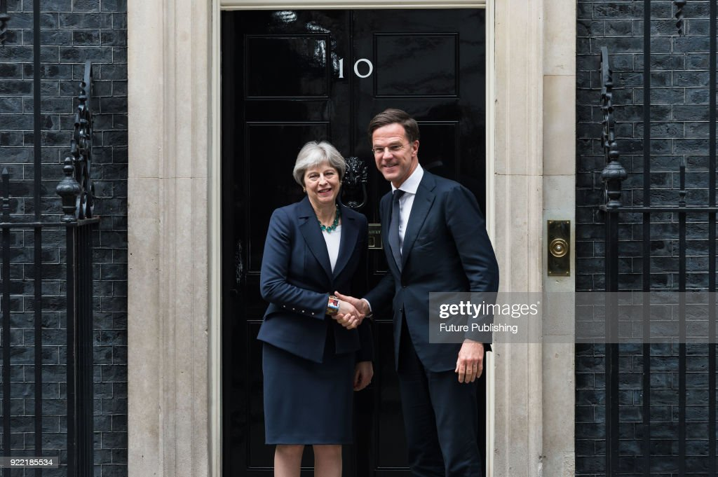 Dutch Prime Minister Mark Rutte visits British Prime Minister Theresa May at 10 Downing Street in central London. February 21, 2018 in London, England.PHOTOGRAPH BY Wiktor Szymanowicz / Barcroft Images