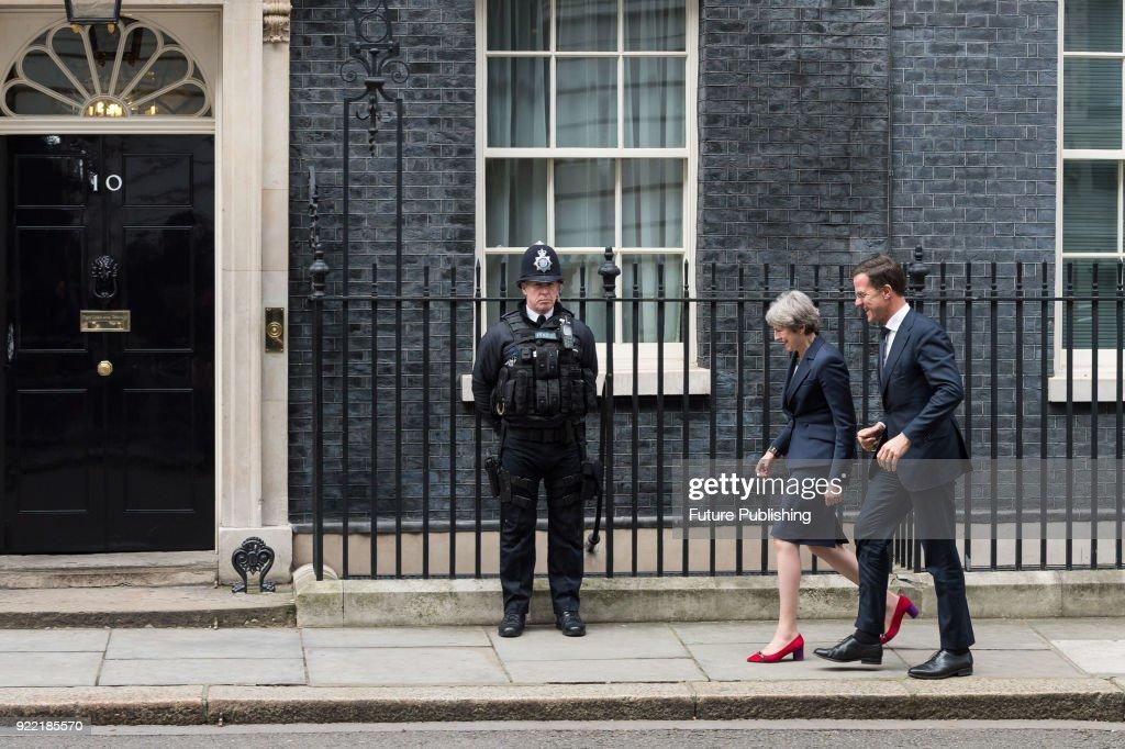 Theresa May meets Mark Rutte at Downing Street : News Photo