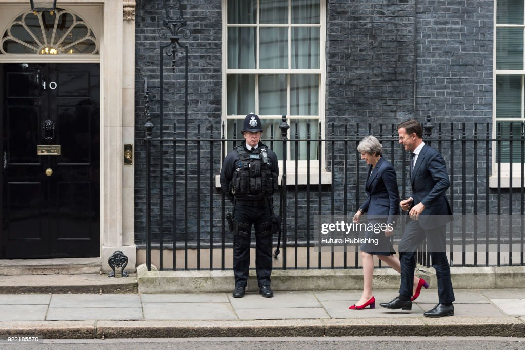 Dutch Prime Minister Mark Rutte visits British Prime Minister Theresa May at 10 Downing Street in central London. February 21, 2018 in London, England.