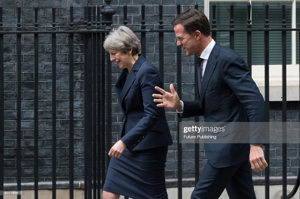 Theresa May meets Mark Rutte at Downing Street : News Photo