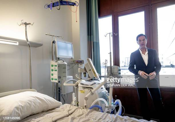 Dutch Prime Minister Mark Rutte visits to the national coordination center for Intensive Cares in Erasmus MC in Rotterdam on March 24 amid the spread...