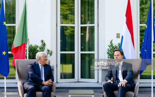 Dutch prime minister Mark Rutte welcomes his Portuguese counterpart Antonio Costa at his official residence in The Hague, on July 13 prior to a...