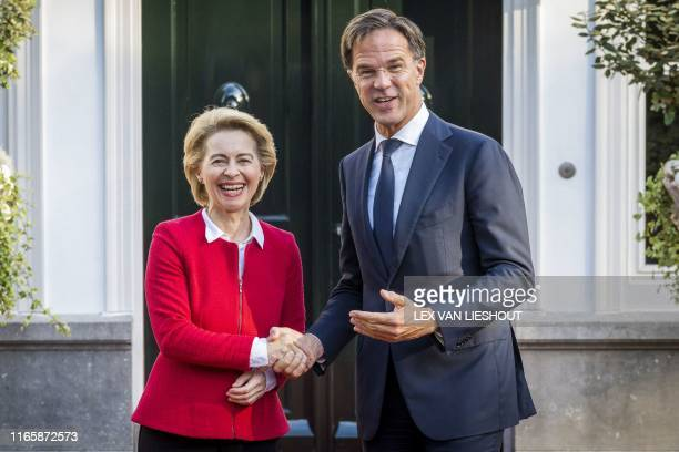 Dutch Prime Minister Mark Rutte welcomes the new president of the European Commission Ursula von der Leyen prior to a meeting in The Hague The...