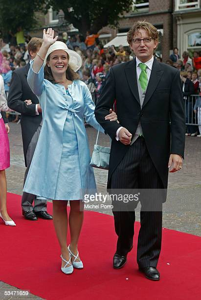 Dutch Prince Bernhard jr and Princesse Annette arrive for the church wedding of Prince Pieter Christiaan and Anita van Eijk at the 'Jeroenskerk'...