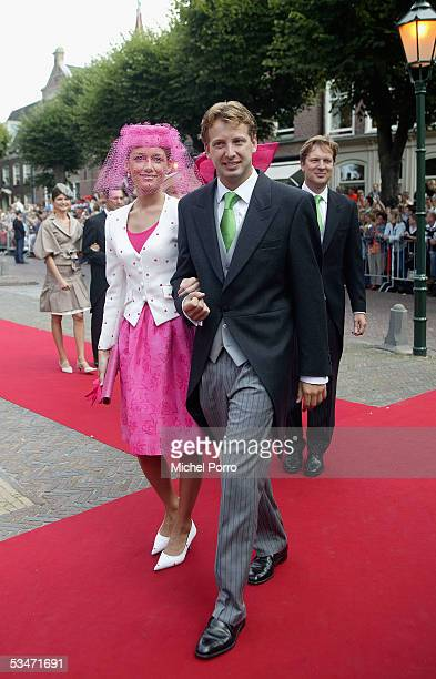 Dutch Prince Floris and Aimee Sohngen arrive for the church wedding of Prince Pieter Christiaan and Anita van Eijk at the 'Jeroenskerk' Church on...