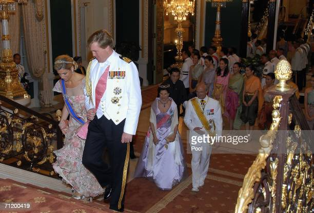 Dutch Prince of Orange Willem Alexander, Dutch Princess Maxima and Queen Silvia of Sweden and King Carl Gustav of Sweden attend the Royal banquet at...
