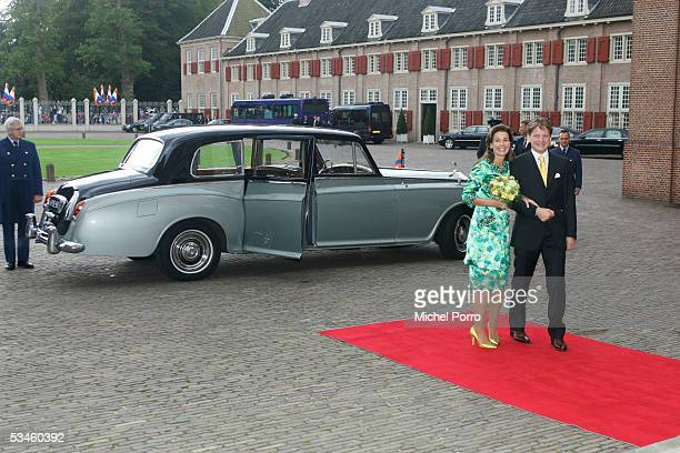 Dutch Prince Pieter Christiaan and Anita van Eijk arrive for the civil wedding ceremony at The Loo Palace on August 25 2005 in Apeldoorn The...